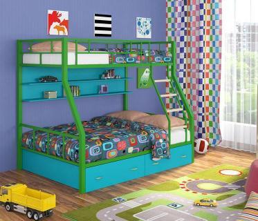 Двухъярусная кровать Радуга зеленый/голубой