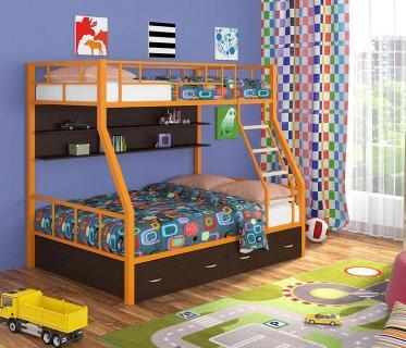 Двухъярусная кровать Радуга оранжевый/венге