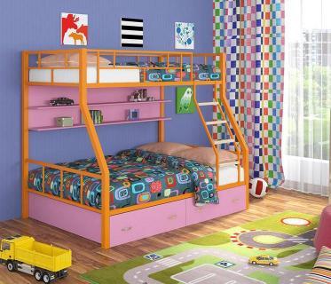 Двухъярусная кровать Радуга оранжевый/розовый