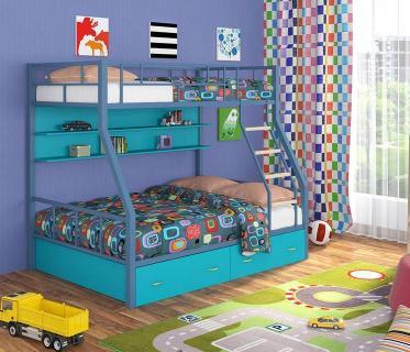 Двухъярусная кровать Радуга голубой