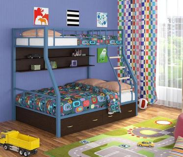 Двухъярусная кровать Радуга голубой/венге