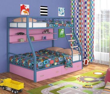 Двухъярусная кровать Радуга голубой/розовый