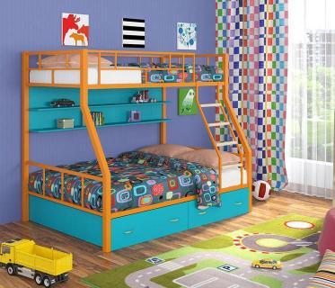 Двухъярусная кровать Радуга оранжевый/голубой
