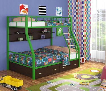 Двухъярусная кровать Радуга зеленый/венге
