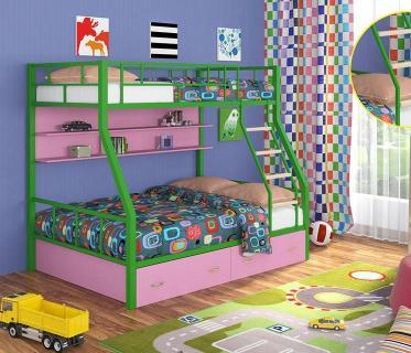 Двухъярусная кровать Радуга зеленый/розовый