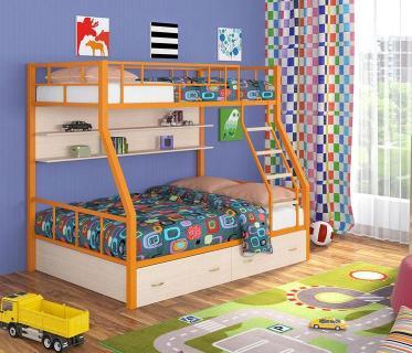 Двухъярусная кровать Радуга оранжевый/дуб молочный