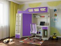 Кровать-чердак Астра 7 (дуб молочный/фиолетовый)