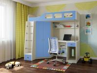 Кровать-чердак Астра 7 (дуб молочный/голубой)