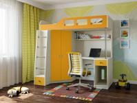 Кровать-чердак Астра 7 (дуб молочный/оранжевый)