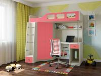 Кровать-чердак Астра 7 (дуб молочный/розовый)