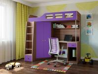 Кровать-чердак Астра 7 (шамони/фиолетовый)