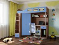 Кровать-чердак Астра 7 (шамони/голубой)