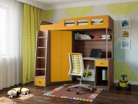 Кровать-чердак Астра 7 (шамони/оранжевый)
