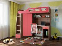 Кровать-чердак Астра 7 (шамони/розовый)