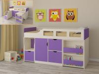 Кровать-чердак Астра 8 (дуб молочный/фиолетовый)