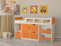 Кровать-чердак Астра 8 (дуб молочный/оранжевый)