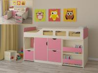 Кровать-чердак Астра 8 (дуб молочный/розовый)