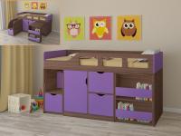Кровать-чердак Астра 8 (шамони/фиолетовый)