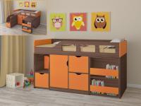 Кровать-чердак Астра 8 (шамони/оранжевый)