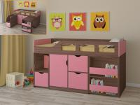 Кровать-чердак Астра 8 (шамони/розовый)