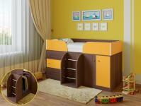 Кровать-чердак Астра 5 (шамони/оранжевый)
