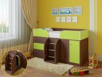 Кровать-чердак Астра 5 (шамони/салатовый)