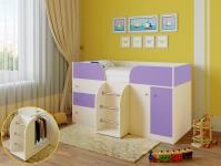 Кровать-чердак Астра 5 (дуб молочный/фиолетовый)