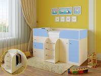 Кровать-чердак Астра 5 (дуб молочный/голубой)