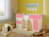 Кровать-чердак Астра 5 (дуб молочный/розовый)