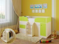 Кровать-чердак Астра 5 (дуб молочный/салатовый)