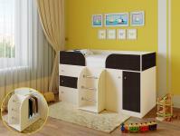 Кровать-чердак Астра 5 (дуб молочный/венге)