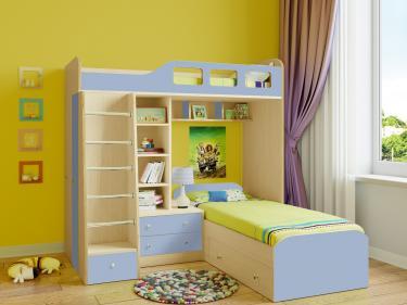 Двухъярусная кровать Астра 4 (дуб молочный/голубой)