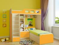 Двухъярусная кровать Астра 4 (дуб молочный/оранжевый)