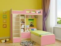 Двухъярусная кровать Астра 4 (дуб молочный/розовый)