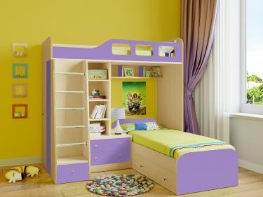 Двухъярусная кровать Астра 4 (дуб молочный/фиолетовый)