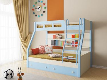 Двухъярусная кровать Рио (голубой)
