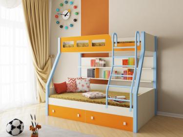 Двухъярусная кровать Рио (голубой/оранжевый)