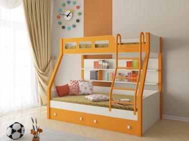 Двухъярусная кровать Рио (оранжевый)