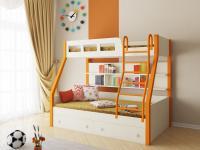 Двухъярусная кровать Рио (оранжевый/дуб молочный)