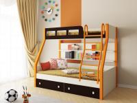 Двухъярусная кровать Рио (оранжевый/венге)