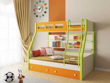 Двухъярусная кровать Рио (салатовый/оранжевый)