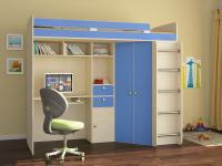 Кровать-чердак Астра синий