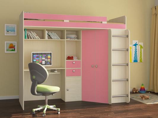 Кровать-чердак Астра розовый
