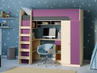 Кровать-чердак Астра 10 фиолетовый