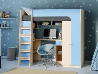 Кровать-чердак Астра 10 голубой