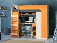 Кровать-чердак Астра 10 оранжевый