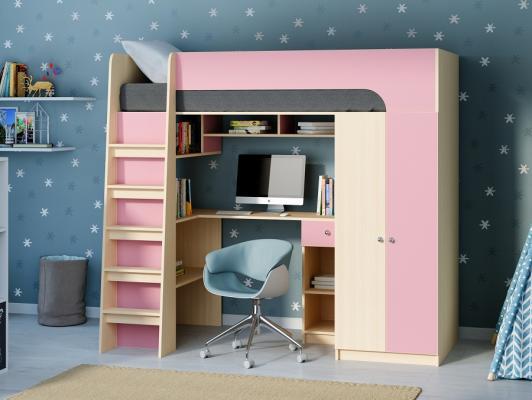 Кровать-чердак Астра 10 розовый