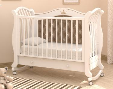 Детская кроватка на колесах Габриэлла Люкс Плюс (белая)