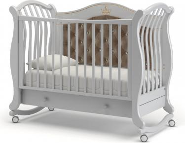Детская кроватка на колесах Габриэлла Люкс Плюс (белая ночь)