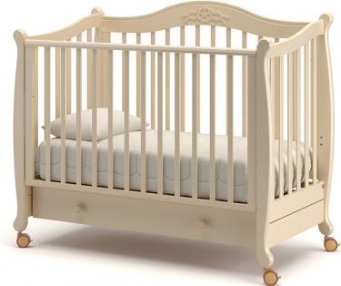 Детская кроватка на колесах Моника (слоновая кость)